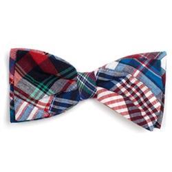 Blue Multi Patch Madras Bow Tie