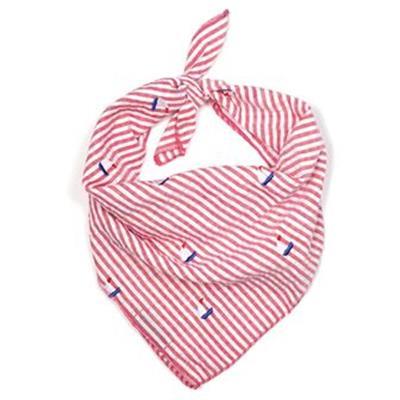 Red Stripe Sailboat Tie Bandana