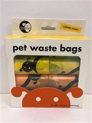 Lola Bean Pet Waste Bags - 8 Rolls - 160 Bags Total Lemon Scent