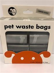 Lola Bean Pet Waste Bags - 8 Rolls - 160 Bags Total Gray and Black Bags