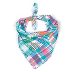 Turq Multi Patch Madras Tie Bandana