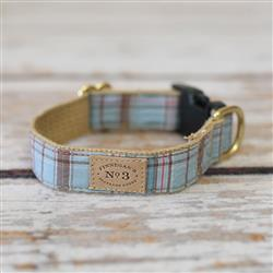 "1"" Light Blue Plaid Collars and Leads"