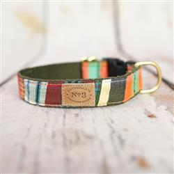 "1"" Brown / Green Madras Collars and Leads"