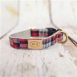 """1"""" Red Plaid Collars and Leads"""