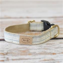 """1"""" Cream and Navy Seed Sack Collars and Leads"""