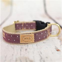 Burgundy Pin Dot Collars, Leads, and Harnesses