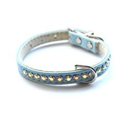 Jackie O Single Row Vegan Dog Collar - Light Blue