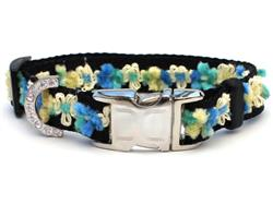 Coco Blue Dog Collar - Gold Metal Buckles