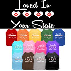 """Loved in """"YOUR CITY / STATE"""" Custom Souvenir Pet Shirts"""