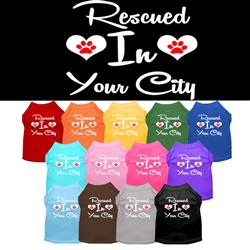 """Rescued in """"YOUR CITY / STATE"""" Custom Souvenir Pet Shirts"""