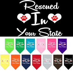 "Rescued in ""YOUR CITY / STATE"" Custom Souvenir Pet Bandanas"