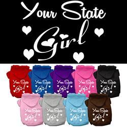 """YOUR CITY / STATE"" Girl Custom Souvenir Pet Hoodie"