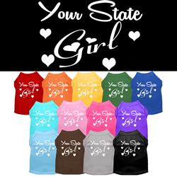 """YOUR CITY / STATE"" Girl Custom Souvenir Pet Shirts"