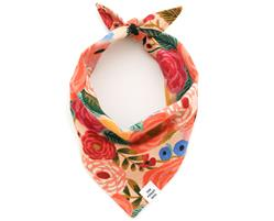 Painted Peonies Natural Dog Bandana