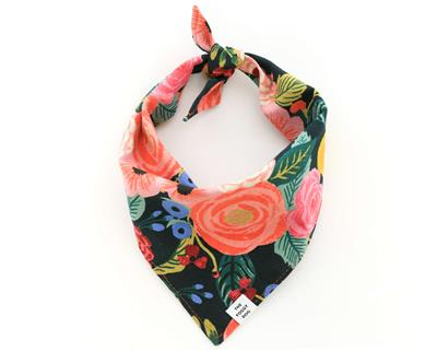 Painted Peonies Midnight Dog Bandana