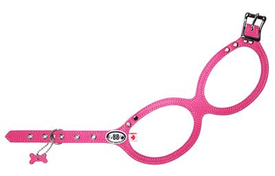 """BB Dog Harness: Leather ~ """"Luxury"""" BB Hot Pink"""