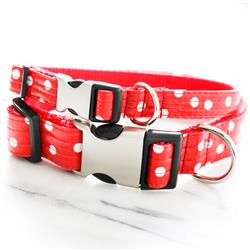 'Minnie' Polka Dot Red Laminated Cotton Dog Collars & Leashes