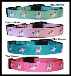 Unicorn Collection Nylon Pet Collars and Leashes