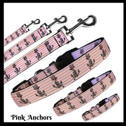 Pink Anchors Nylon Pet Collars and Leashes