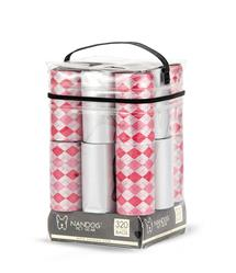 Grey/ Pink Diamond 16 Roll Packs of Designer Fashion Waste Bag Refills