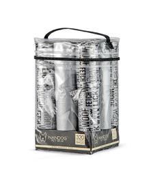 Words Print  Gray 16 Roll Packs of Designer Fashion Waste Bag Refills