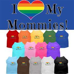 I Heart My Mommies Screen Print Dog Shirt