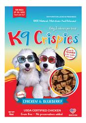 K9 Crispies Chicken with Blueberry Bite Size Dog Treats - 6oz. Resealable Bag