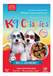 K9 Crispies Beef with Cranberry Bite Size Dog Treats - 6oz. Resealable Bag