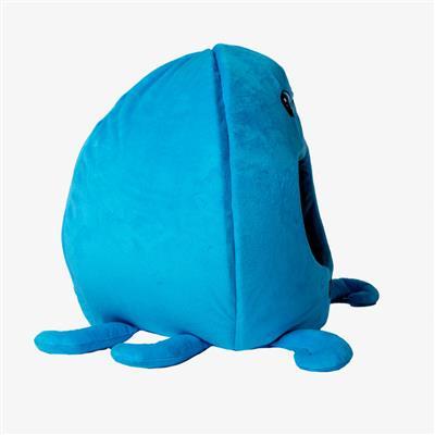BLUE OCTOPUS SHAPE CAT HUT MICRO FLEES PET BED