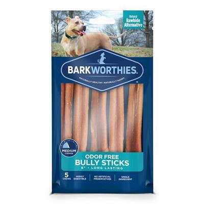 Bully Stick Multipack- Odor Free - 6'' (5-Pack SURP) by Barkworthies