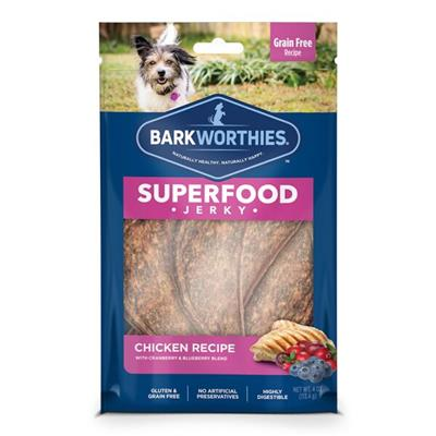 Superfood Chicken Jerky w/Cranberry & Blueberry (4 oz. SURP) by Barkworthies