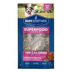 Superfood Venison Jerky w/Blueberry & Cranberry 100 Calorie Pack (Case 16) by Barkworthies