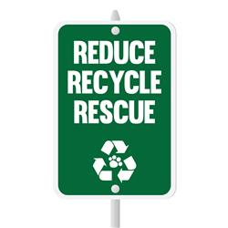 "Reduce, Recycle, Rescue Mini Garden Sign, 3.75"" x 5.5"" on 8"" stake"