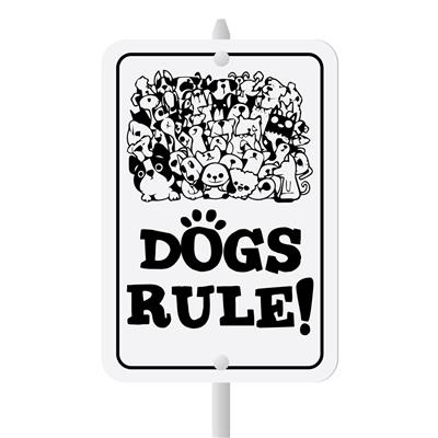 "Dogs Rule Mini Garden Sign, 3.75"" x 5.5"" on 8"" stake"