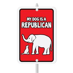 "My Dog Is A Republican Mini Garden Sign, 3.75"" x 5.5"" on 8"" stake"