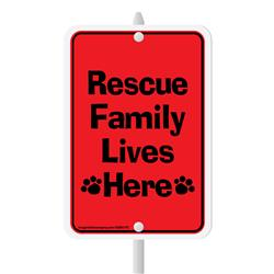 "Rescue Family Lives Here Mini Garden Sign, 3.75"" x 5.5"" on 8"" stake"