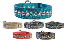Double Clear Crystal and Silver Spike Dragon Skin Genuine Leather Dog Collar
