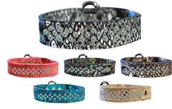 Sprinkle AB Crystal Jeweled Dragon Skin Genuine Leather Dog Collar