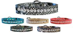 One Row Clear Jeweled Dragon Skin Genuine Leather Dog Collar