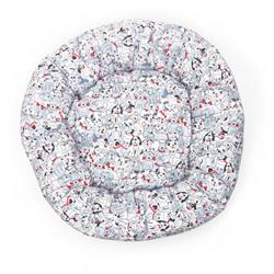 Playful Pups with Bones Cotton Fabric Round Pet Bed