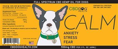 CALM - Full Spectrum Hemp CBD Oil for Dogs - 550mg/2oz.