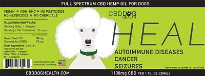 HEAL - Full Spectrum Hemp CBD Oil for Dogs - 1100mg/1oz.