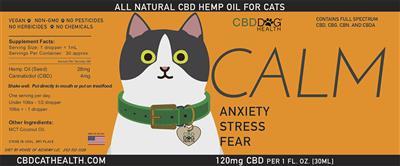 CALM - Full Spectrum Hemp CBD Oil for Cats - 120mg/1oz.