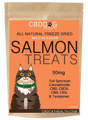 CBD Oil Freeze Dried Salmon Treats for Cats - 1oz. Bag