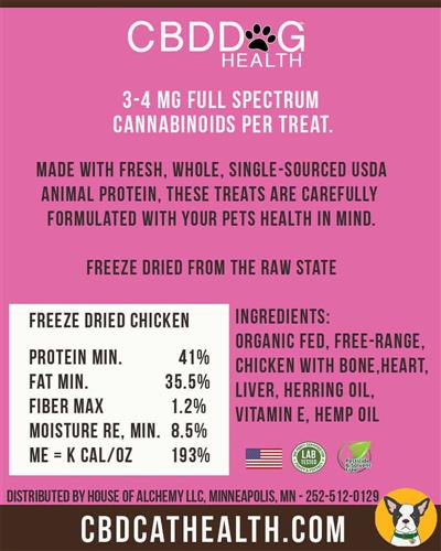 CBD Oil Freeze Dried Chicken Treats for Cats - 1oz. Bag