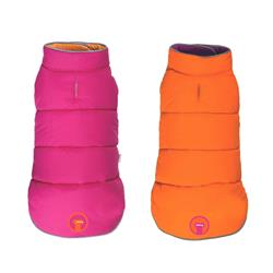 Hot Pink/Orange Reversible Puffer Dog Coat