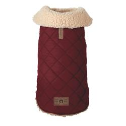 Burgundy Quilted Shearling Dog Coat