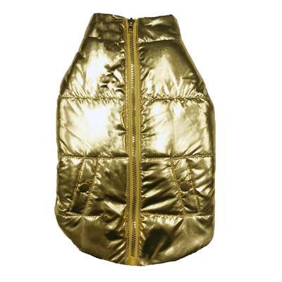 Metallic Gold Puffer Dog Coat