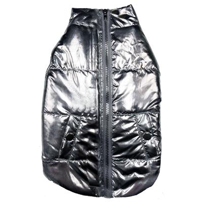 Metallic Silver Puffer Dog Coat