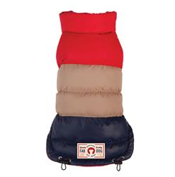 Red/Tan/Navy Colorblock Puffer